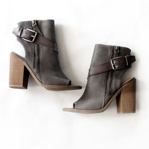 Dolce Vita Faux Leather Gray Ankle Booties